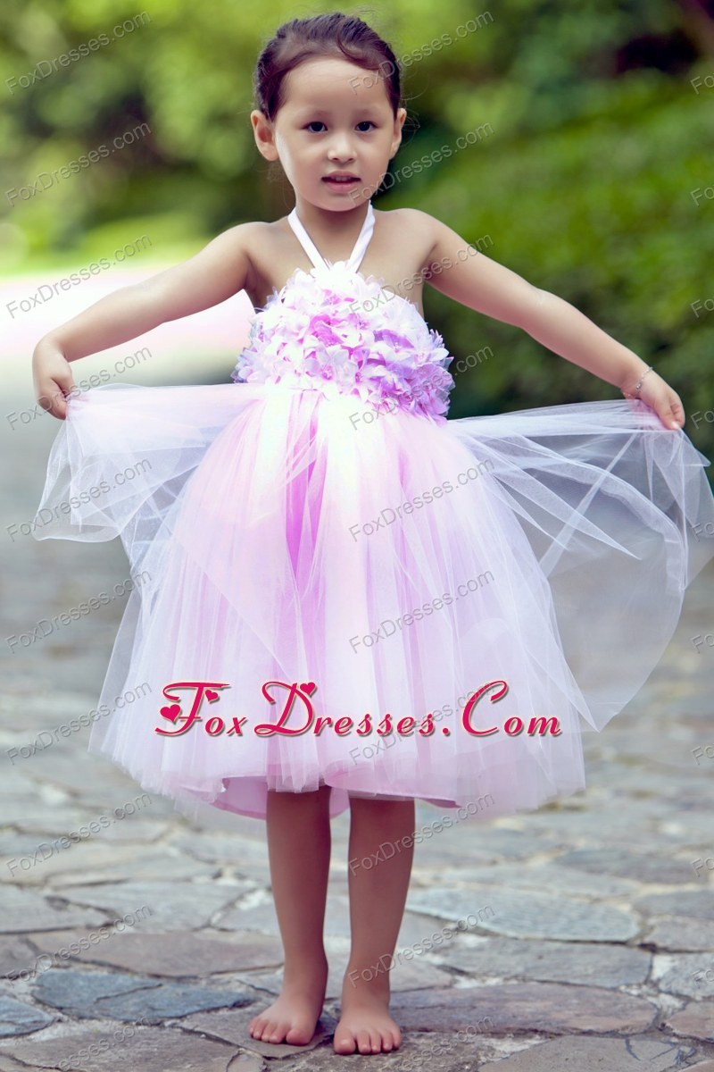 Pink Halter Knee-length TulleHand Made Flowers Flower Girl Dress
