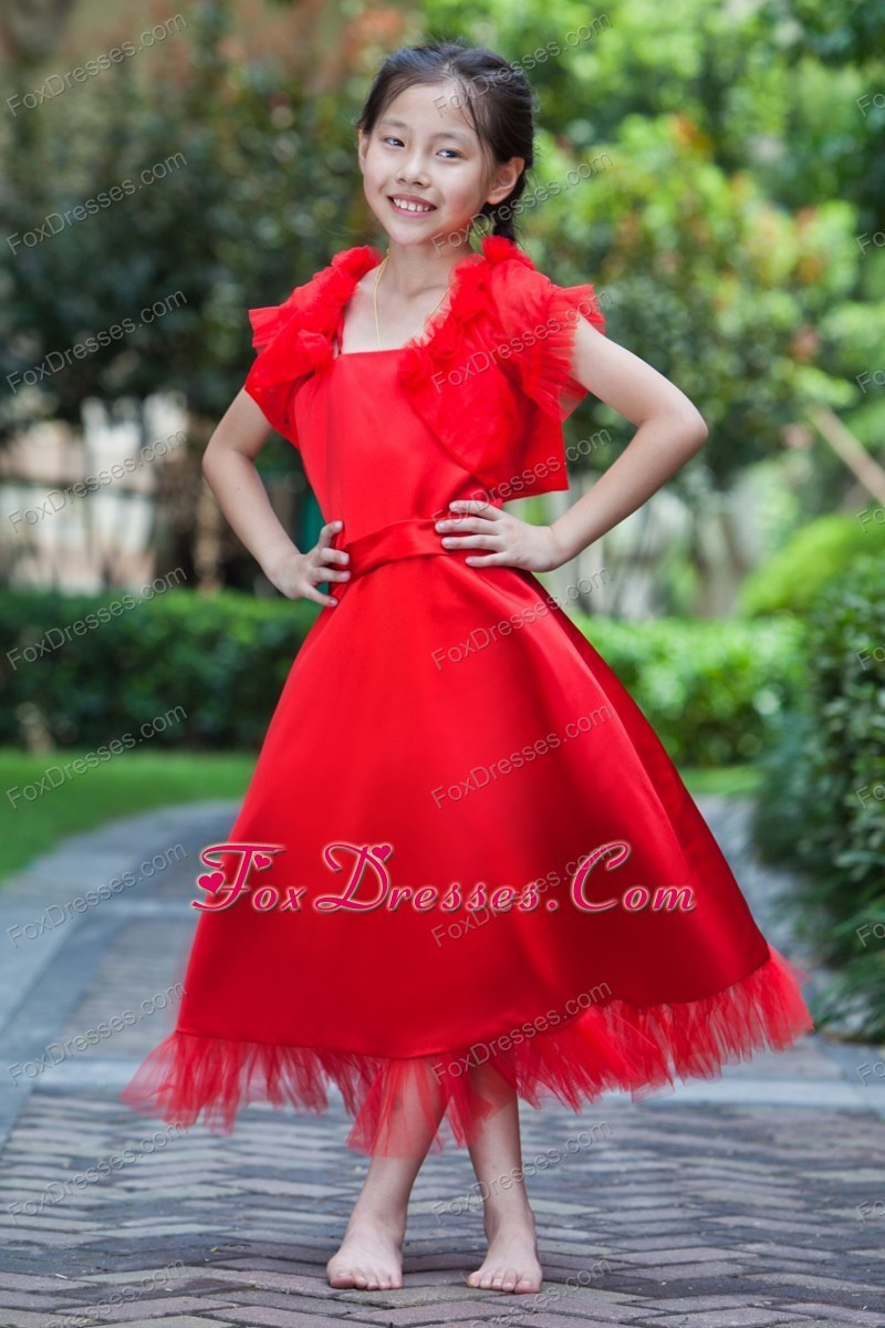 Red A-line Square Ankle-length Flower Girl Dress