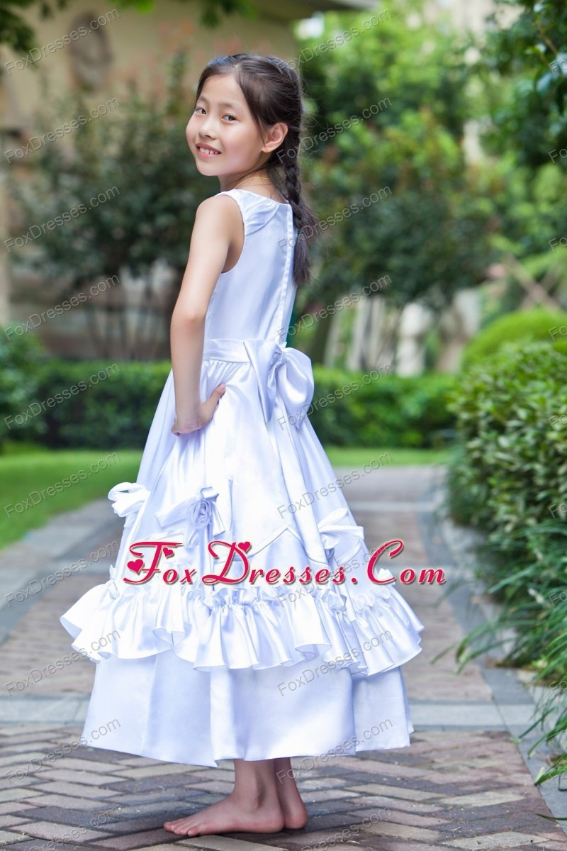 White Scoop Ankle-length Little Girl Dress with Hand Made Flowers