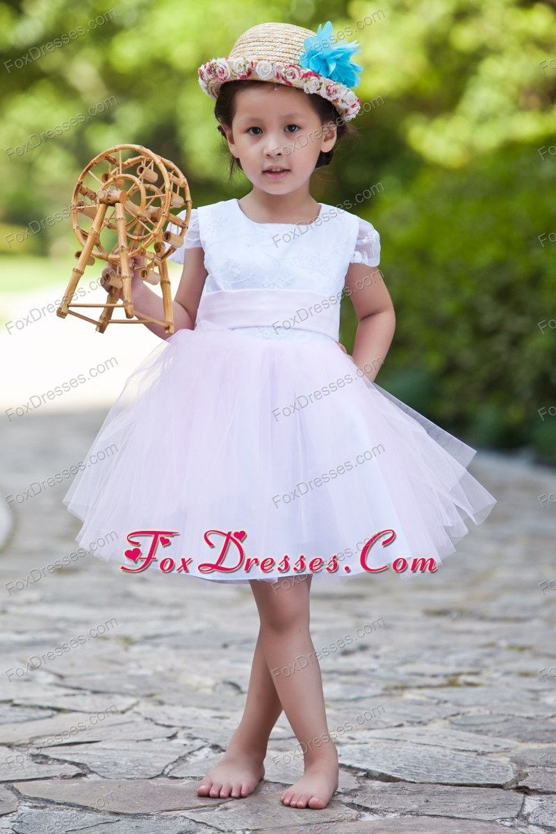 White and Pink Ball Gown Scoop Knee-length Flower Girl Dress Short