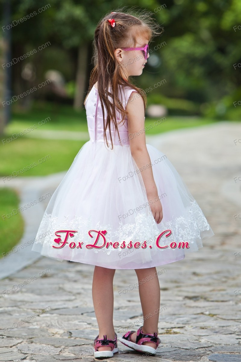 Pink Ball Gown Tea-length Appliques Pretty Girls Party Dresses