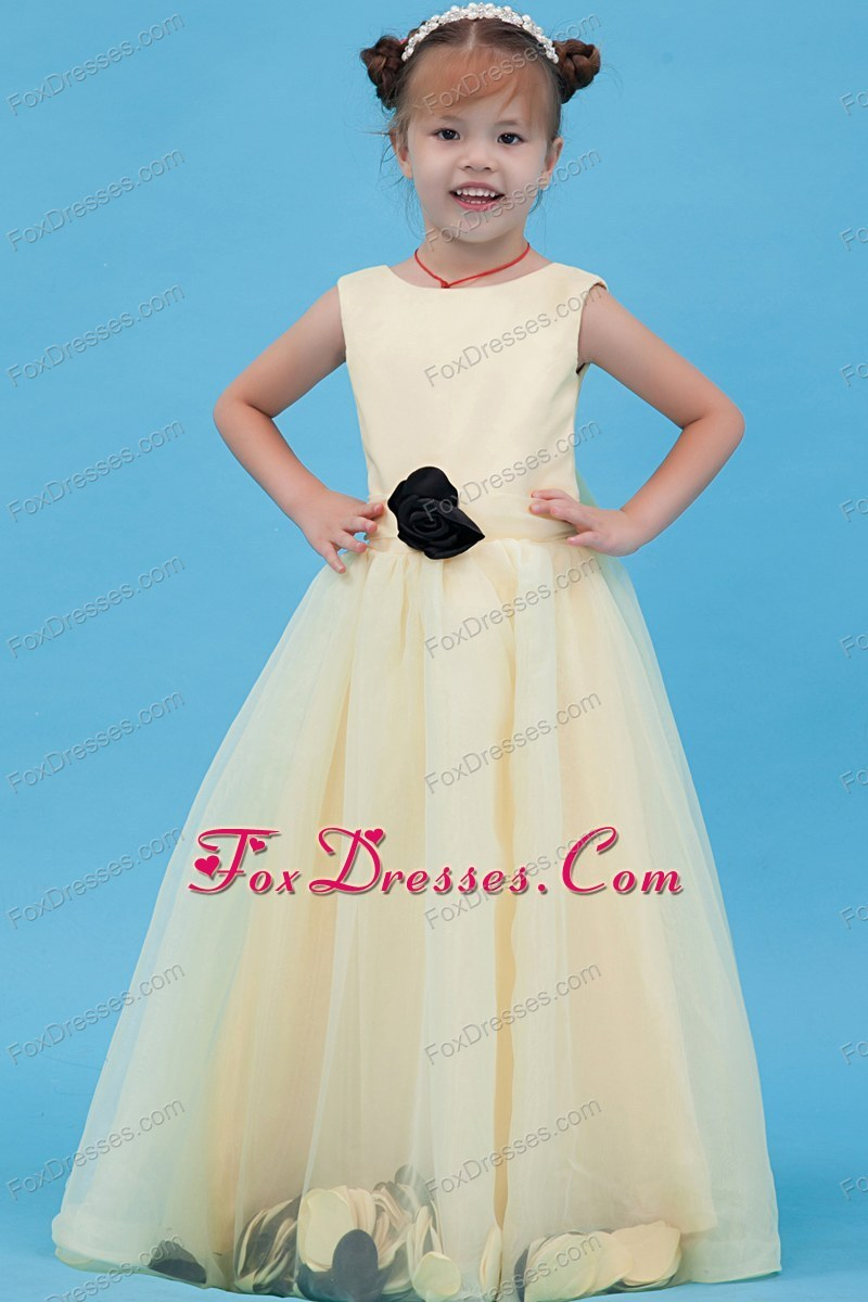 Light Yellow A-line Scoop Floor-length Flower Girl Dress with