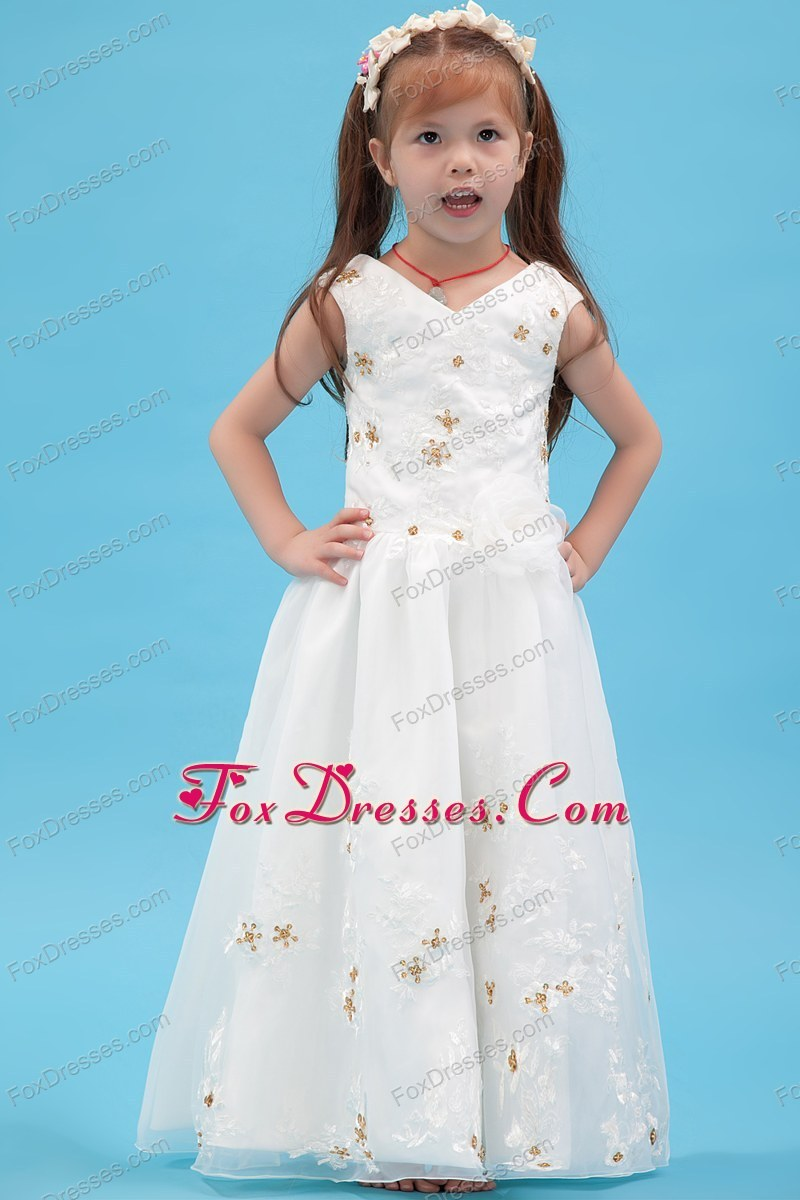 Beading and Appliques White A-line Floor-length Pretty Girls Party ...