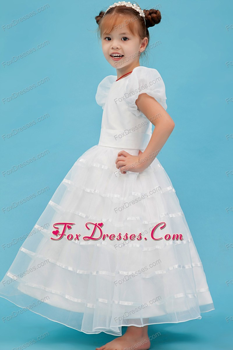 A-line Scoop Ankle-length Organza Flower Girl Dress White