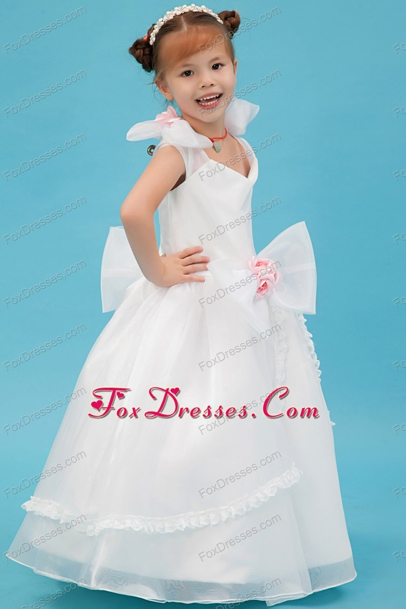 Lovely White A-line Flower Girl Dress with Hand Made Flowers
