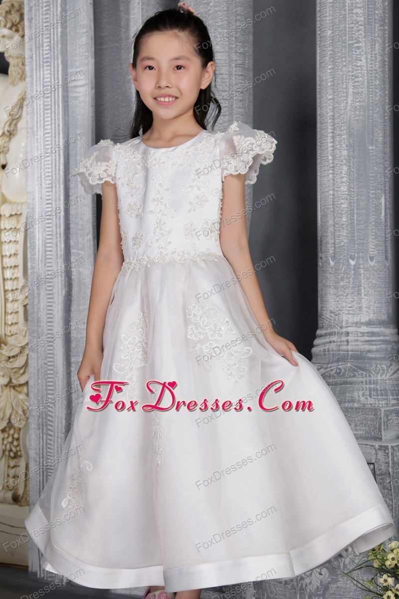 Cheap White A-line Princess Scoop Flower Girl Dress