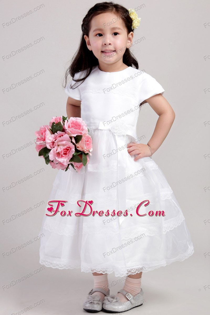 Tea-length A-Line Princess Scoop Flower Girl Dress White