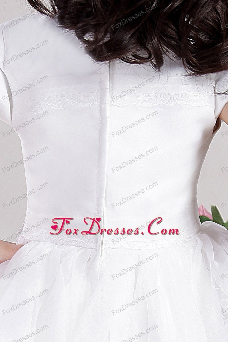 white a-line flower girl dress