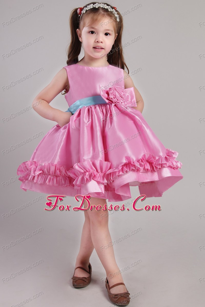 Pink Princess Scoop Short Belt and Handle Made Pretty Girls Party Dresses