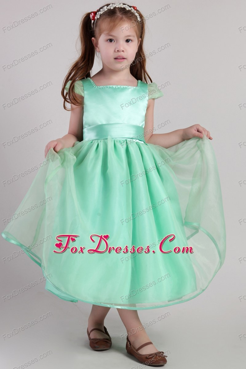 Apple Green A-line Square Tea-length Belt Little Girl Dress