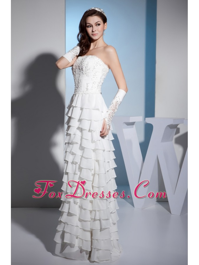 Embroidery Ruffles Layers Strapless Column Floor-length Wedding Dress
