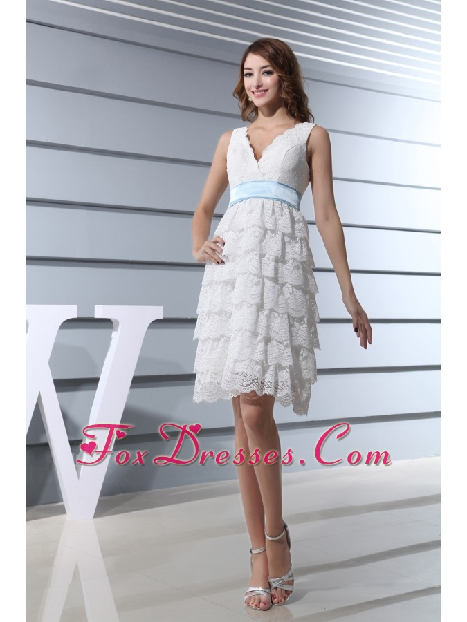 Lace V-neck Ruffled Layers Knee-length Prom Dress