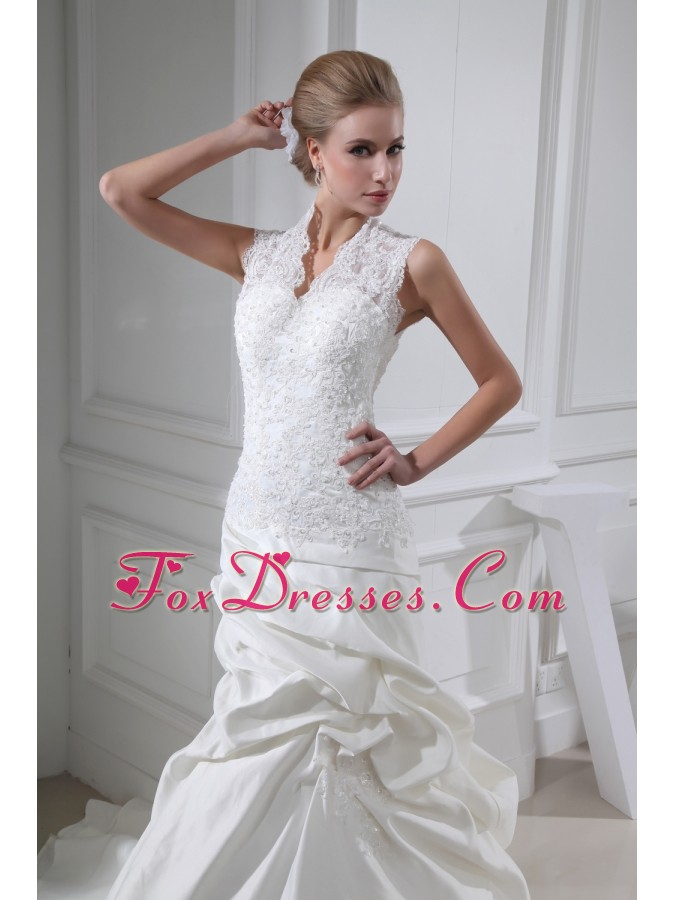 Lace Pick-ups V-neck Mermaid Chapel Train Wedding Dress