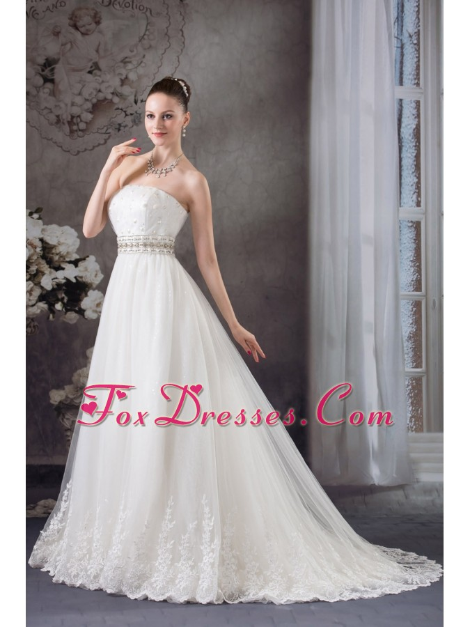 A-line Strapless Lace Beading Tulle Wedding Dress
