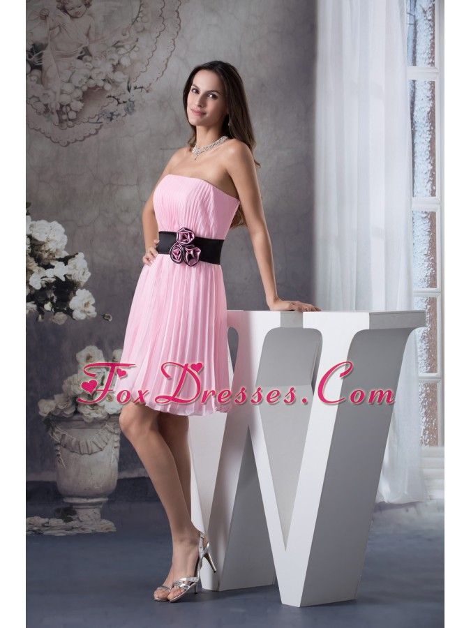 Hand Made Flowers A-Line Strapless Short Pink Prom Dress