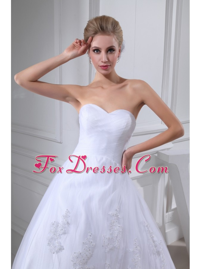 Lace With Beading Ball Gown Sweetheart Chapel Train Wedding Dress