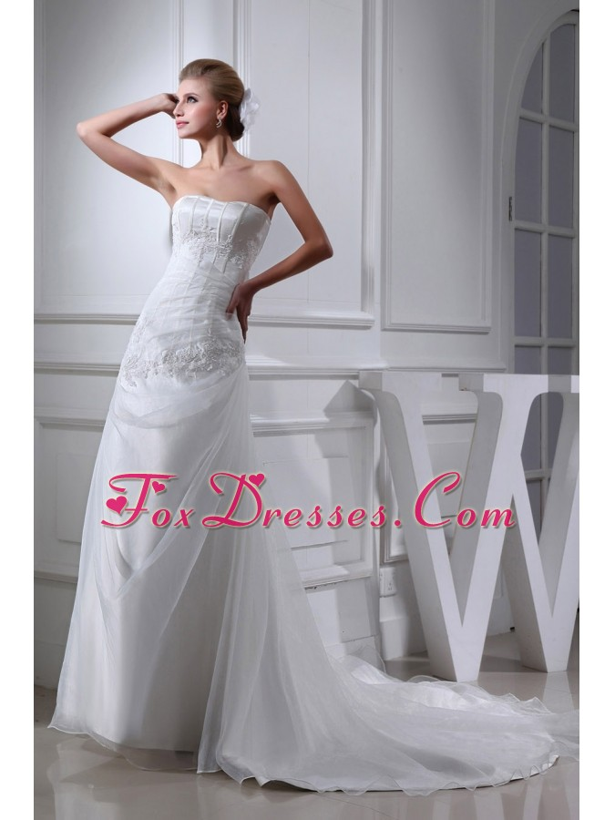 Cheap Appliques Strapless A-line Chapel Train Wedding Dress