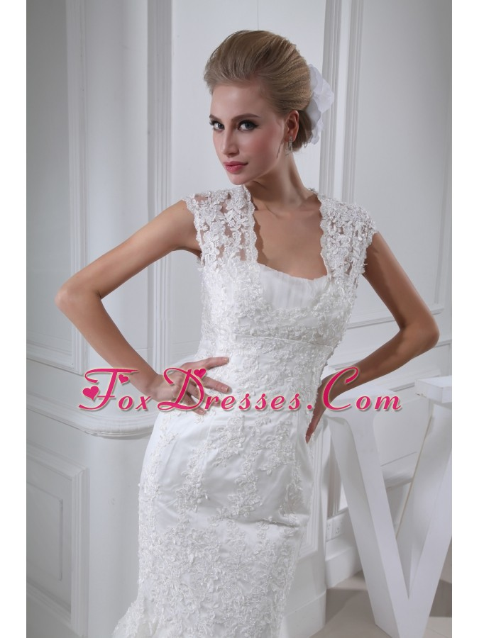 Lace Mermaid Chapel Train Square Wedding Dress