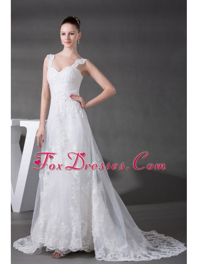 A-line Straps Lace Court Train Wedding Dress