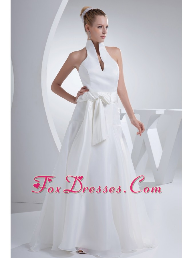 Halter Top Sash A-line Organza Wedding Dress