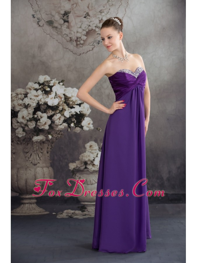 Beading Empire long Purple 2013 Prom Dress with Sweetheart