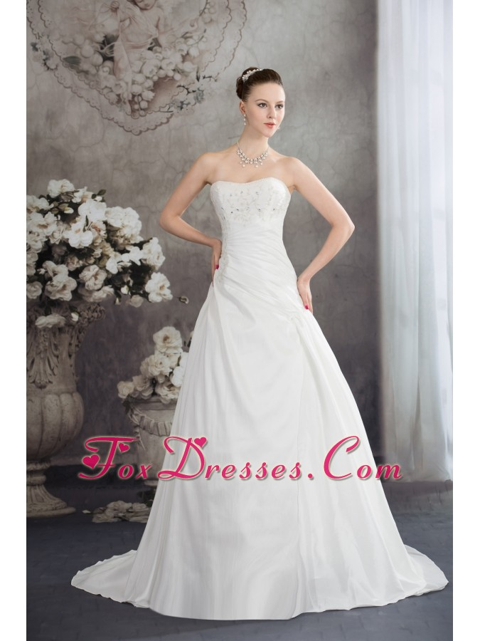 Strapless Beading A-line Brush Train Wedding Dress