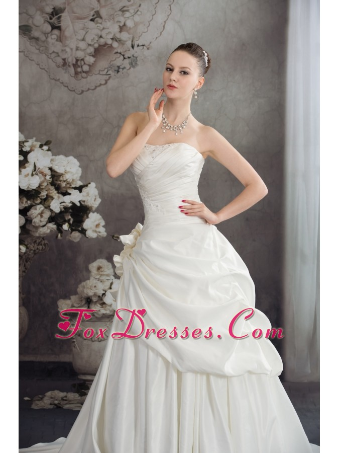 A-line Strapless Hand Made Flowers Brush Tarin Wedding Dress