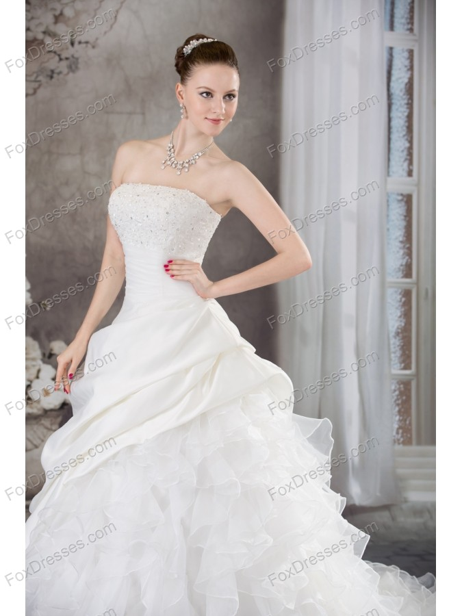 Ruffles Beading Strapless Brush Train Weding Dress