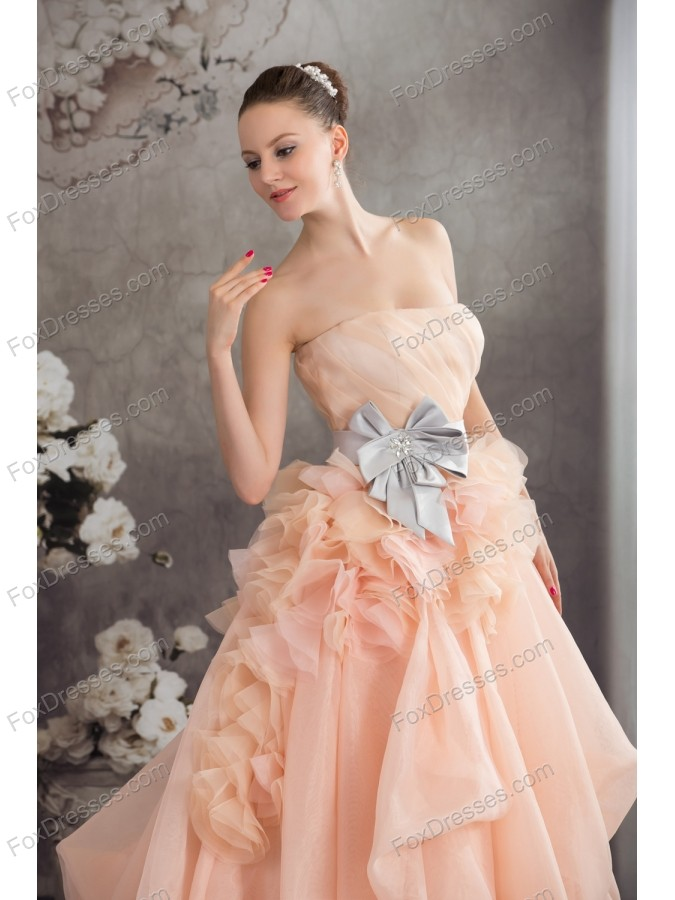 Baby Pink A-line Strapless Ruffles Sash Court Train Wedding Dress