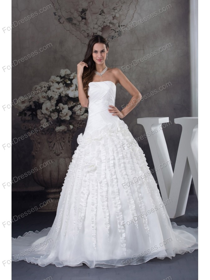 A-line Wedding Dress With Ruching Strapless Court Train