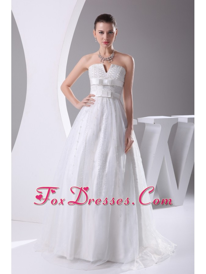 Beading and Belt Column Strapless long Wedding Dress