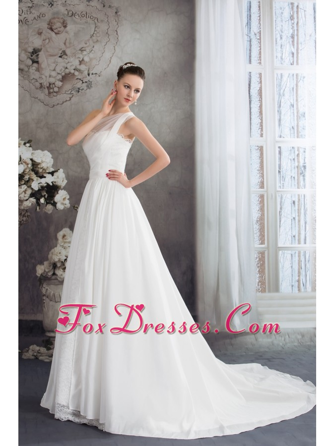 A-line One Shoulder Ruching Lace Court Train Wedding Dress