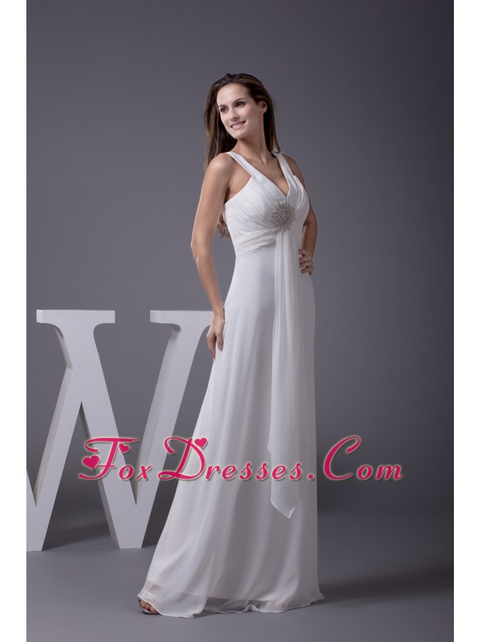 Perfect 2013 V-neck Column Long Beading Prom Dress