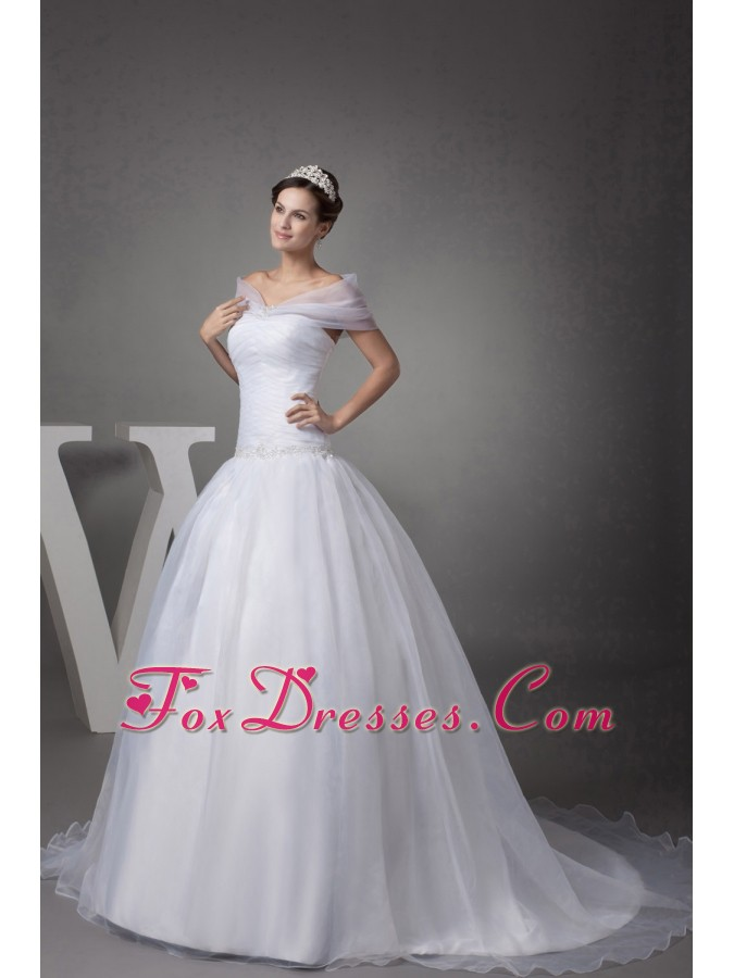 V-neck Court Train Appliques Ball Gown Wedding Dress