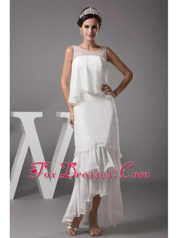 Beading Scoop High-low Wedding Dress