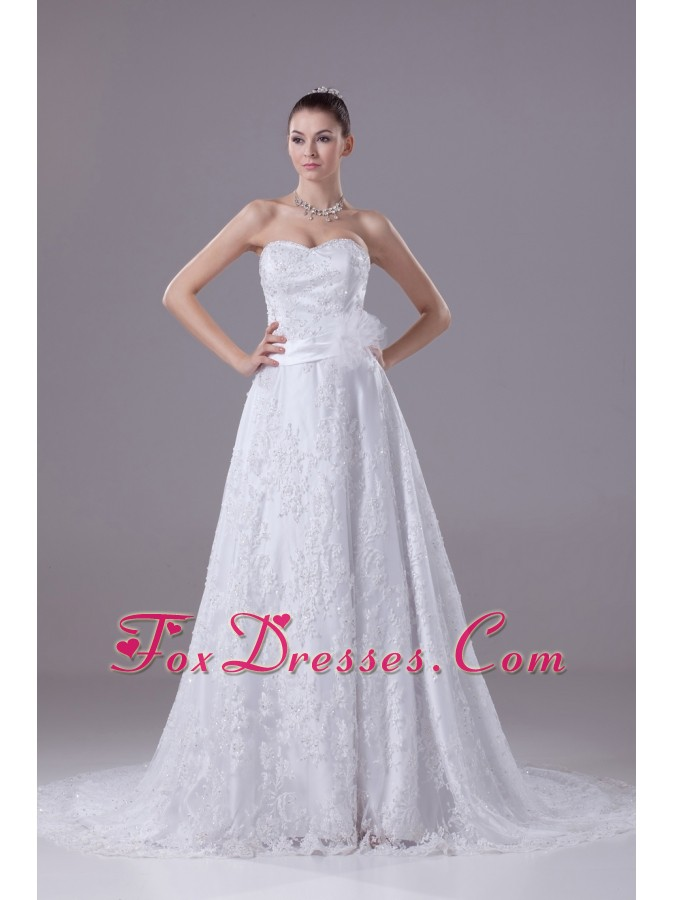 Perfect Sweetheart Court Train Sequins Wedding Dress