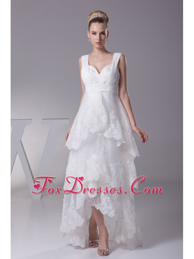 Lace Straps High-lowA-line Wedding Dress