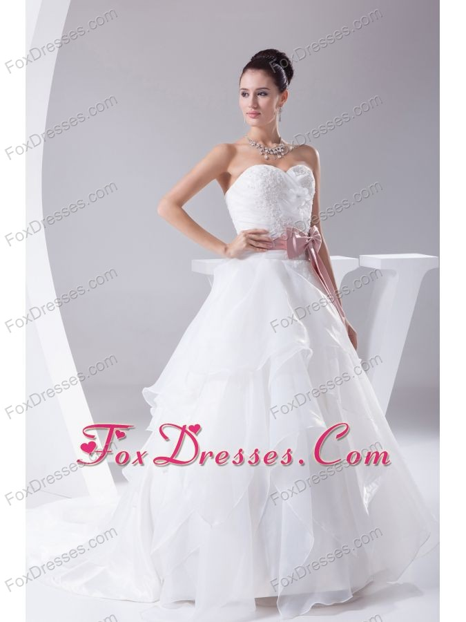 Appliques and Sash A-Line Court Train Sweetheart 2013 Wedding Dress