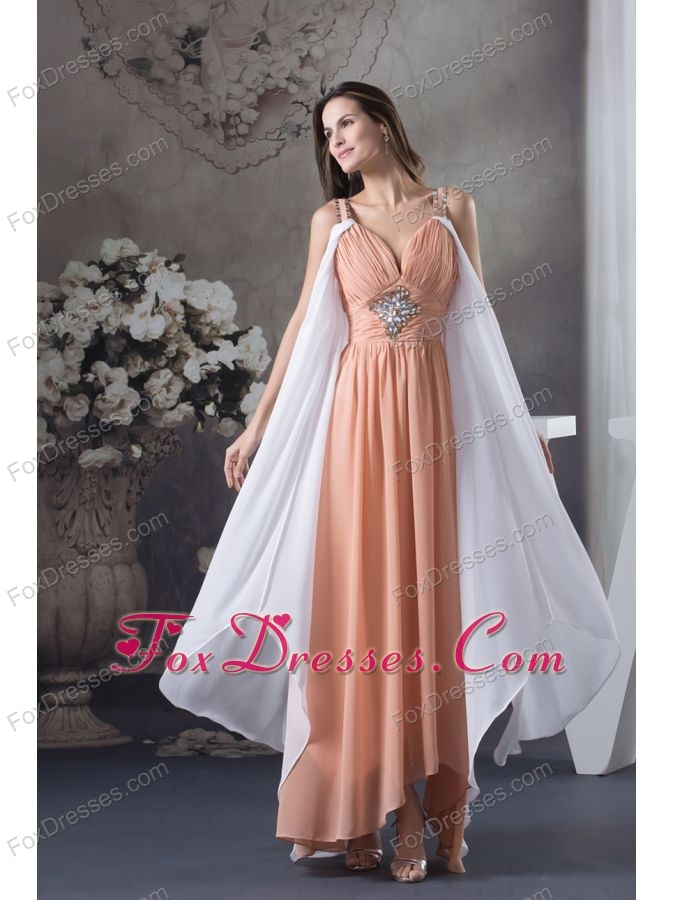Beaded Decorate Shoulder Empire Asymmetrical Prom Dress For 2013