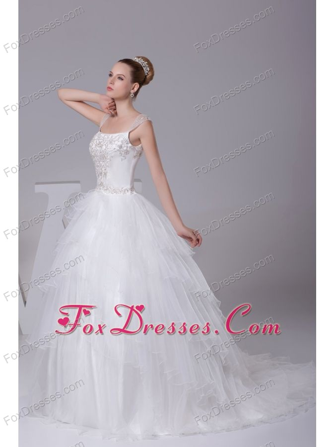 Embroidery Ball Gown Court Train Square Wedding Dress