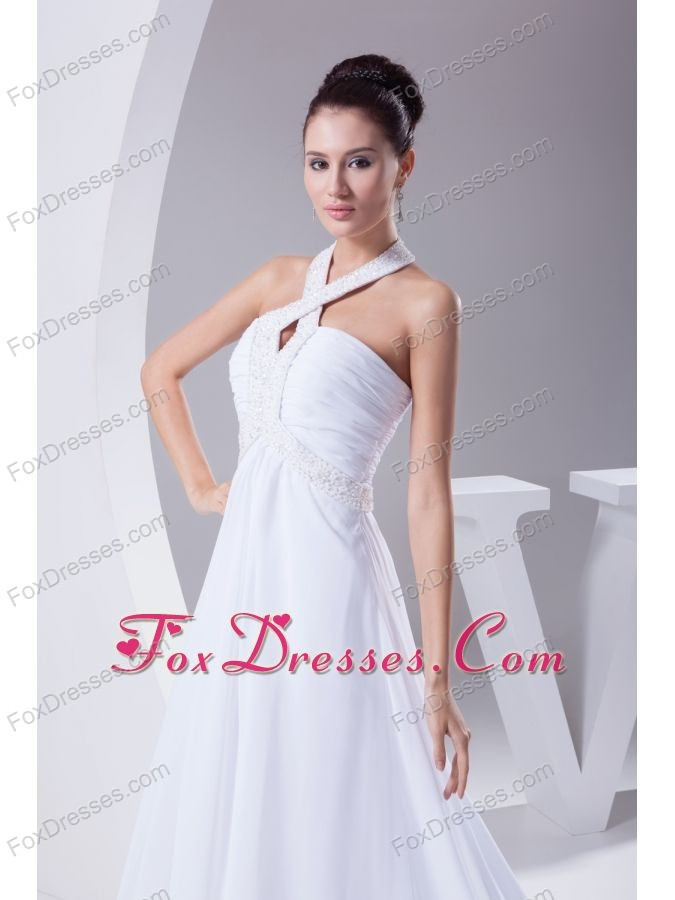 Halter Top Court Train Beading Empire Wedding Dress