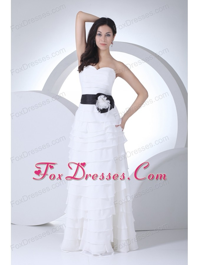 Column Sweetheart Sash Ruffles Layers Wedding Dress