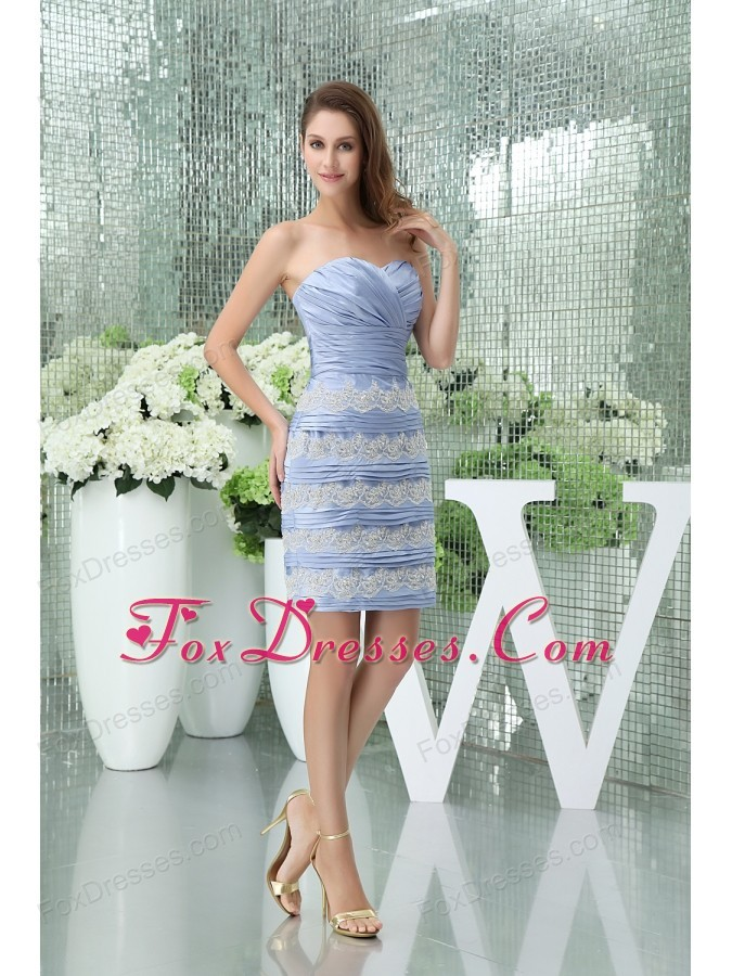 Column Sweetheart Short Lilac Ruffled Layers Mother of the Bride Dresses