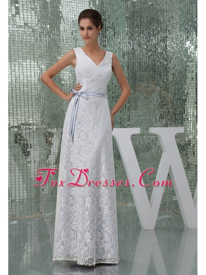 Column V-neck Sash Lace Long Wedding Dress