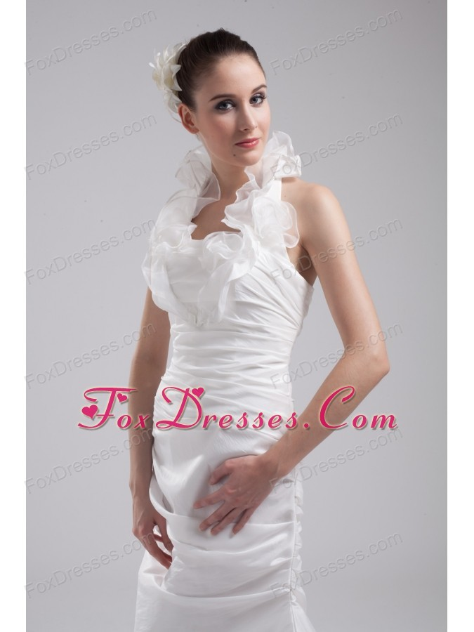 Halter Top Column Hand Made Flowers Wedding Dress