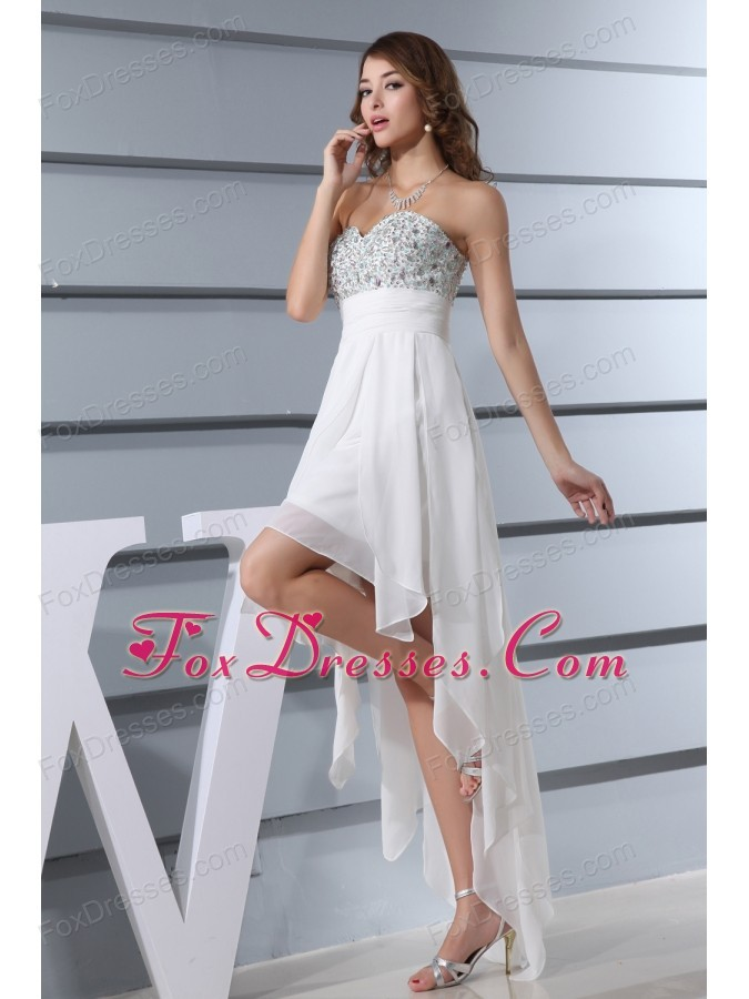 White Beading Sweetheart High Low Prom Dress