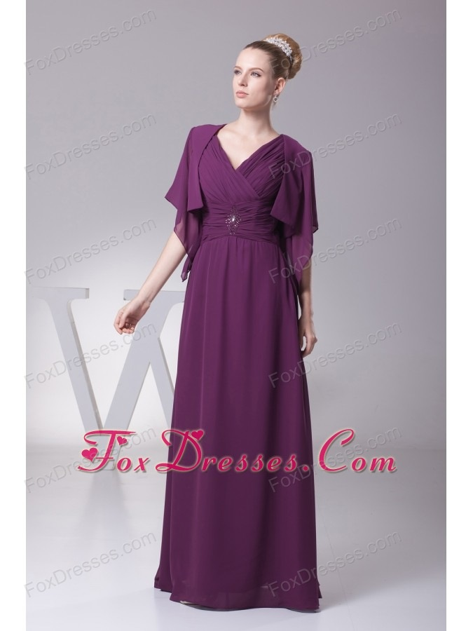 Beading and Ruching V-neck Long Mother of the Bride Dresses