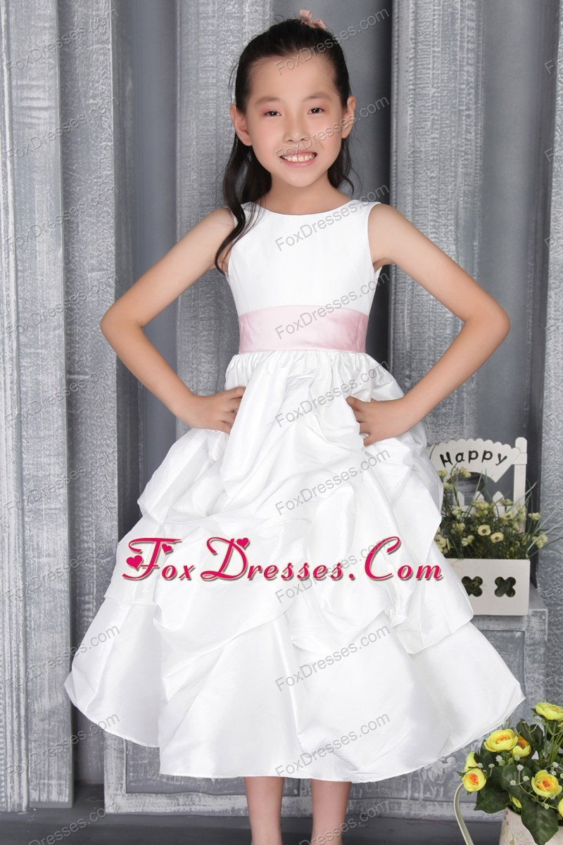 White Pick Ups Belt A Line Little Girl Dress In Spring