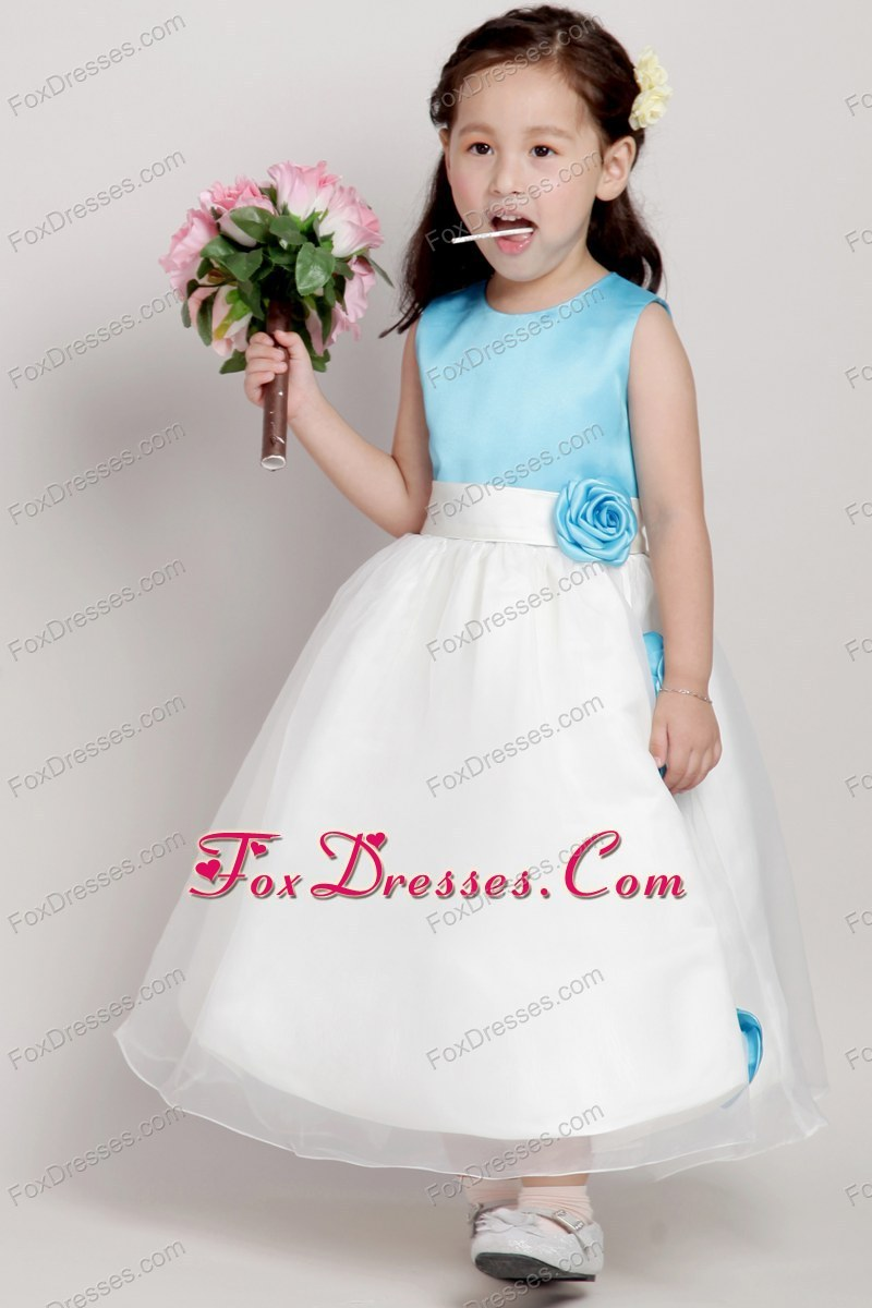 Princess Sash Blue And White Little Girl Dress With Long