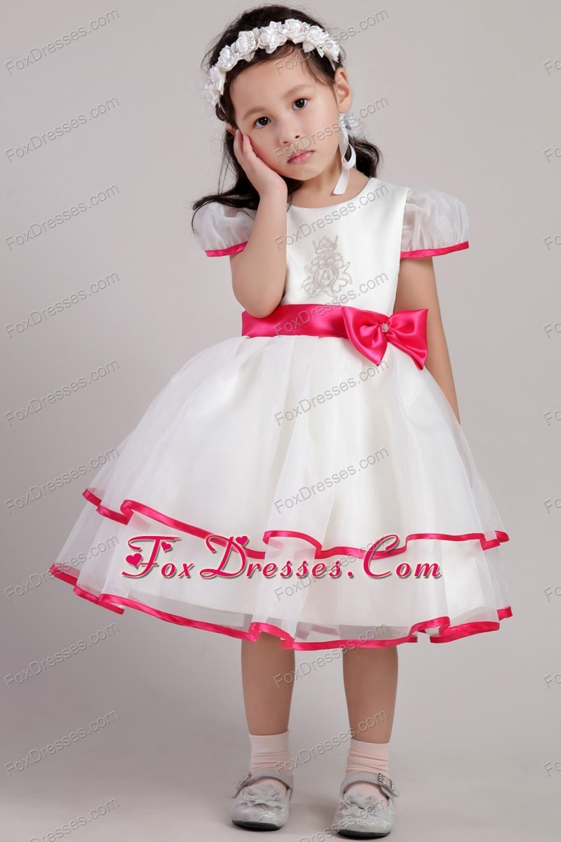 Princess Short Sleeves Scoop Bowknot Little Girl Dress Appliques